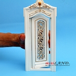 White  Carved Single Door 1:12 scale Fine quality dollhouse miniature wood