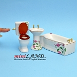 3 piece bathroom set - white ceramic decorated with pink flowers dollhouse miniature