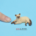 "Laying Cat Siamese 3⁄4""H/11⁄2""L/1""W For dollhouse miniatures 1:12 scale"