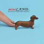 Standing Brown Dachsund dog for Dollhouse miniature 1:12 scale