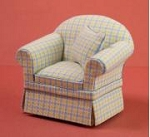 Ashley yellow blue Chair A120 for dollhouse miniature 1:12 scale