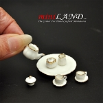 10 pcs white tea set with gold trim Eggshell thickness dollhouse miniature 1:12