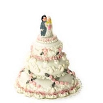 Large Grey wedding cake for dollhouse miniature 1:12 scale