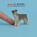 Standing Schnauzer dog for Dollhouse miniature 1:12 scale