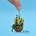 Hanging Pot Mixed Pink Flowers for dollhouse miniature 1:12 scale