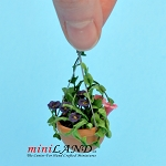 Mixed Flowers In Hanging Pot mixed for dollhouse miniature 1:12 scale
