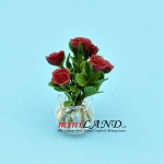 Rose Arrangement In Glass Vase Burgundy  for dollhouse miniature 1:12 scale