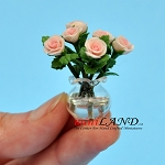 Rose Arrangement In Glass Vase PINK for dollhouse miniature 1:12 scale