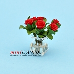 Rose Arrangement In Glass Vase RED for dollhouse miniature 1:12 scale
