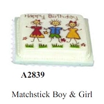 Matchstick Boy and Girl cake for dollhouse miniature 1:12 scale