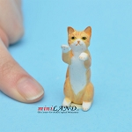 Begging Cat Orange For dollhouse miniatures 1:12 scale