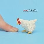 White Hen Pecking For dollhouse miniatures 1:12 scale