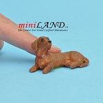 Laying Brown Dachsund dog for Dollhouse miniature 1:12 scale