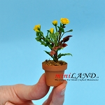 Roses In Pot - Yellow for dollhouse miniature 1:12 scale