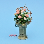 Pink and White Flowers On Green Pedestal for dollhouse miniature 1:12 scale
