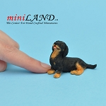 Sitting, red and black dachshund dog for Dollhouse miniature 1:12 scale
