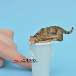 Cat Licking Water Brown For dollhouse miniatures 1:12 scale
