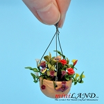 Mixed Flowers In Hanging Pot mix for dollhouse miniature 1:12 scale