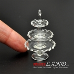 Cake Plate 3-Tier Scallop dollhouse miniature 1:12