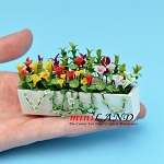 Mixed Flowers In Large white Window Box  for dollhouse miniature 1:12 scale