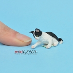 Playing Kitten black and white For dollhouse miniatures 1:12 scale