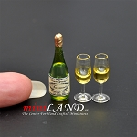 Champagne With 2 Glasses dollhouse miniature 1:12
