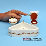 3 piece bathroom set  bathtub with matching sink and toilet dollhouse miniature 1:12 scale