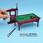Wooden Billiards pool table with pool cues set dollhouse miniature 1:12 MH