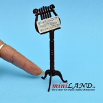 Wooden music stand with sheet music and case dollhouse miniature 1:12