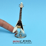 White triangular flying-V star electric guitar with stand and case dollhouse miniature 1:12