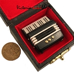 Accordion for dollhouse miniature 1:12 scale with case