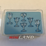 Stemware, Clear Cut, 6 Pcs by Chrysnbon dollhouse miniature 1:12