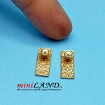 Beautiful detailed gold doorknobs 2pcs  dollhouse miniature 1:12