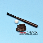 3 pcs baseball set with bat glove and ball  dollhouse miniature 1:12