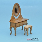 Clearance sale - Teak Dresser with Cheval Mirror and stool for dollhouse miniature 1:12 scale