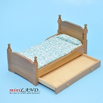 Clearance sale - Teak modern bed for dollhouse miniature 1:12 scale