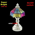 Silver Colored Tiffany lamp table light  LED Super bright with On/off switch