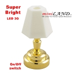 Brass bedroom table Lamp  LED Super bright with On/off switch for 1:12 dollhouse miniature