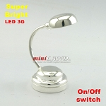 SILVER Modern desk lamp table light  LED Super bright with On/off switch