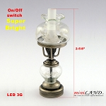 Antique Silver color oil  lamp light battery operated on-off switch for 1:12 dollhouse miniature