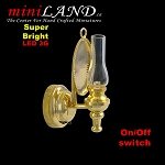 Brass clear wall sconce oil lamp LED Super bright with On/off switch for dollhouse miniature 1:12 scale