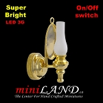 Brass frosted wall sconce lamp LED Super bright with On/off switch