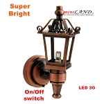 Copper Carriage Lamp Sconce Super bright with On/off switch for 1:12 dollhouse  miniature