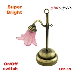 Old time Table Lamp pink LED Super bright with On/off switch for 1:12 dollhouse miniature