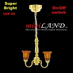 Battery operated LED LAMP Dollhouse miniature light chandelier 2arm on/off switch