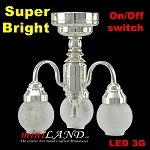 3 Arm Silver chandelier LED Super bright with On/off switch