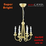 Brass Colonial 6 Arm chandelier  LED Super bright with On/off switch for dollhouse miniature 1:12 scale