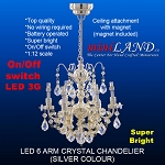 SILVER crystal chandeliers, 6 arms  lamp LED Super bright with On/off switch