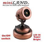 Copper spot light  lamp LED Super bright with On/off switch for dollhouse miniature 1:12 scale