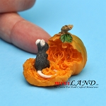 Mouse With Pumpkin dollhouse miniature 1:12